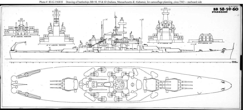 hight resolution of usn ship types south dakota class bb 57 through 60 naval battleship diagram