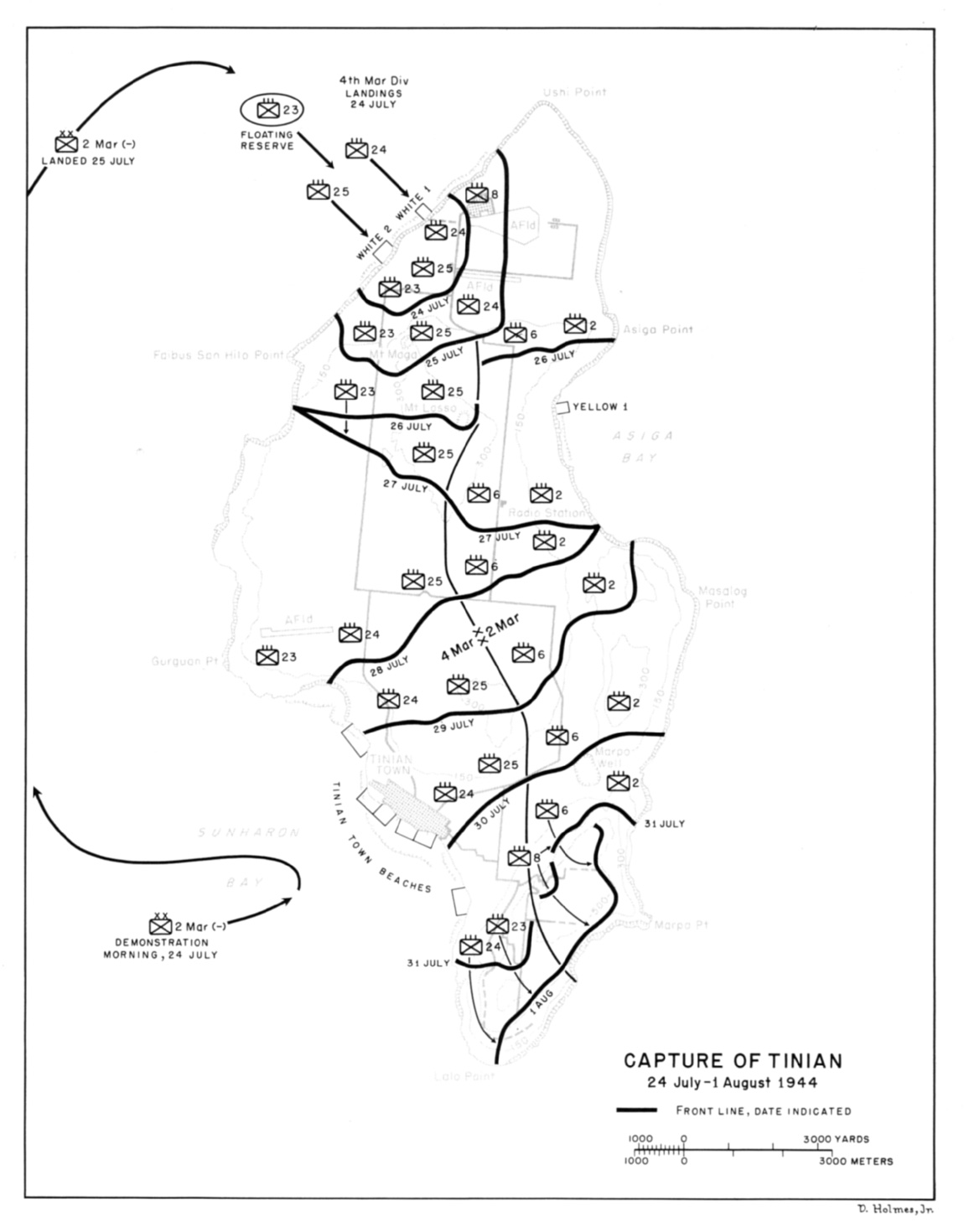 hight resolution of capture of tinian 24 july 1 august 1944