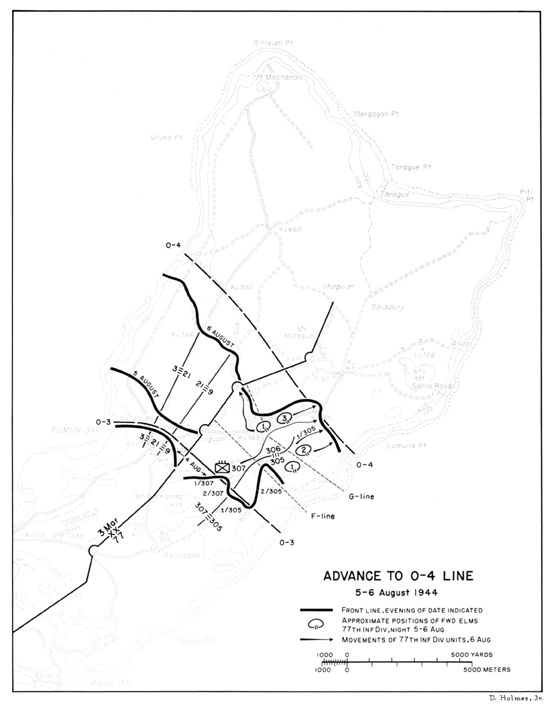 Advance to o 4 line 5 6 august 1944