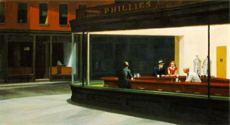 Nighthawks by Edward Hopper, 1942 ; Oil on canvas, 30 x 60 in; The Art Institute of Chicago
