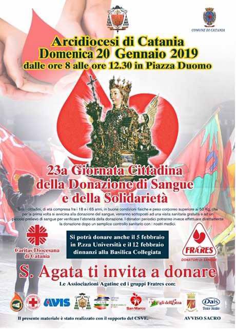 Celebrazioni in onore a San Agata 2019 XXIII Giornata della donazione e della Solidarietà