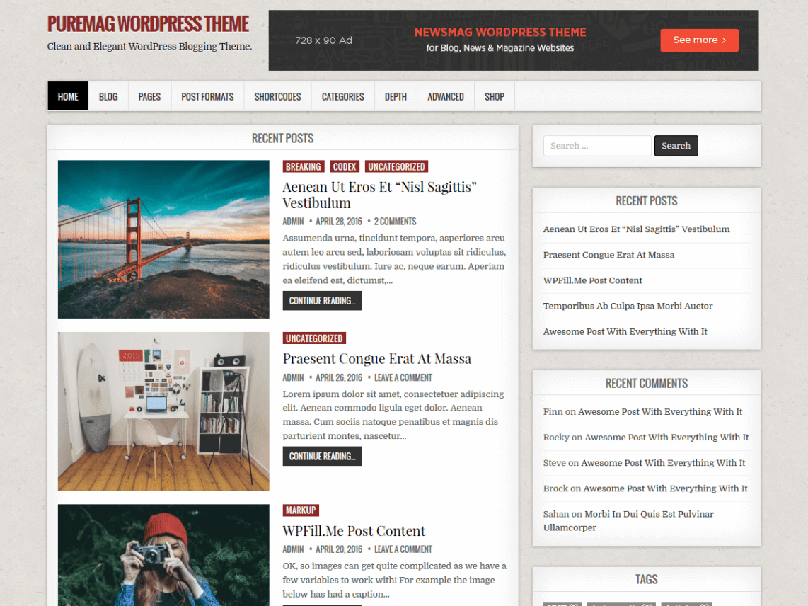 PureMag - WordPress Blogging Theme 1