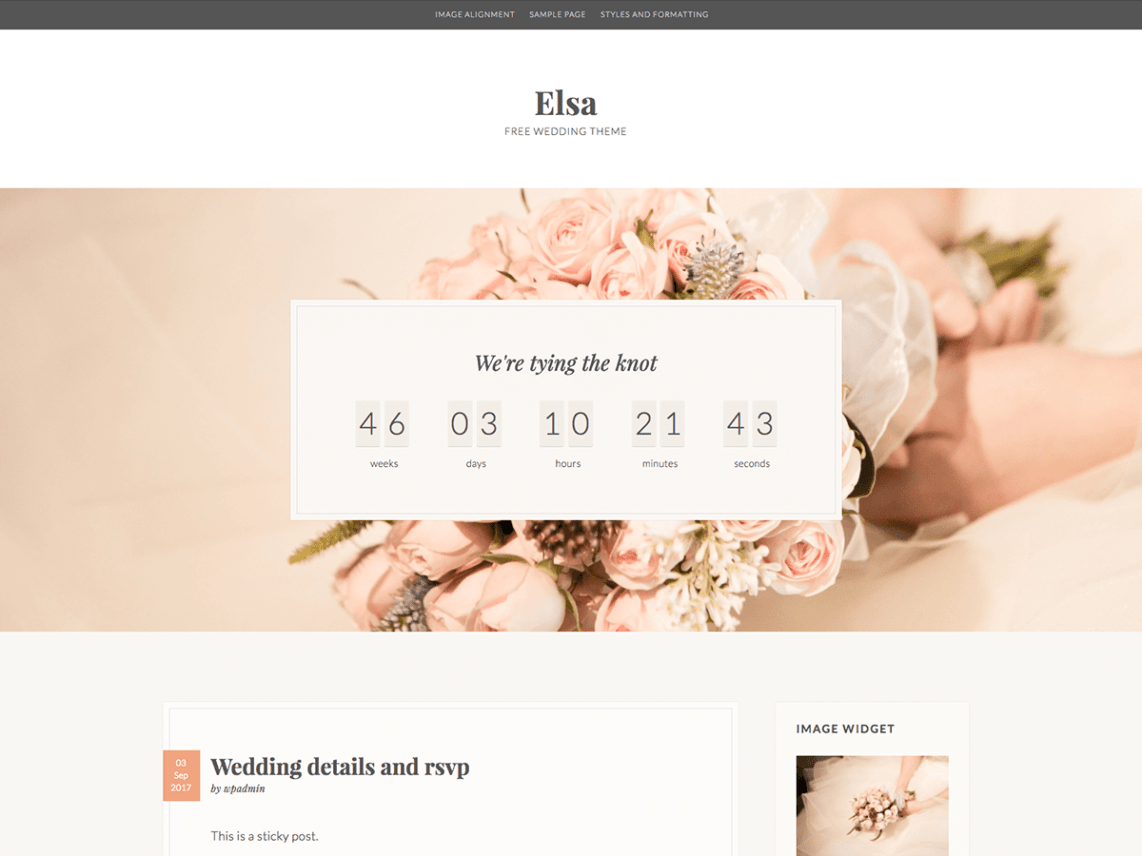 Elsa – modern WordPress theme, perfect for wedding websites or feminine blog