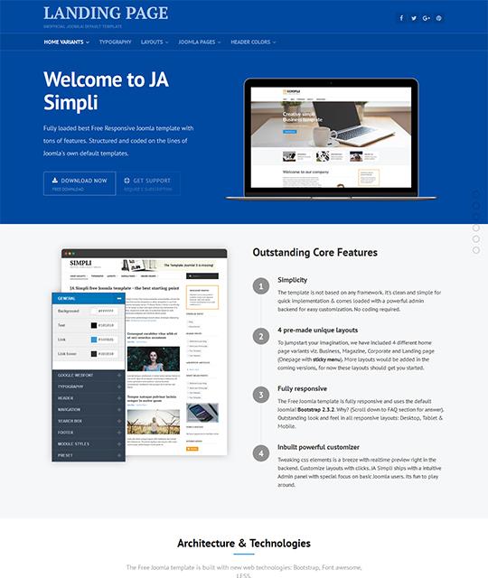 JA Simpli - Free Joomla Template 3