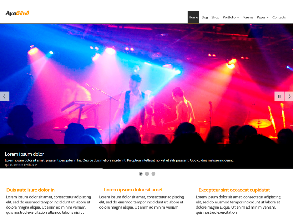 AyaClub Music Club WordPress Theme