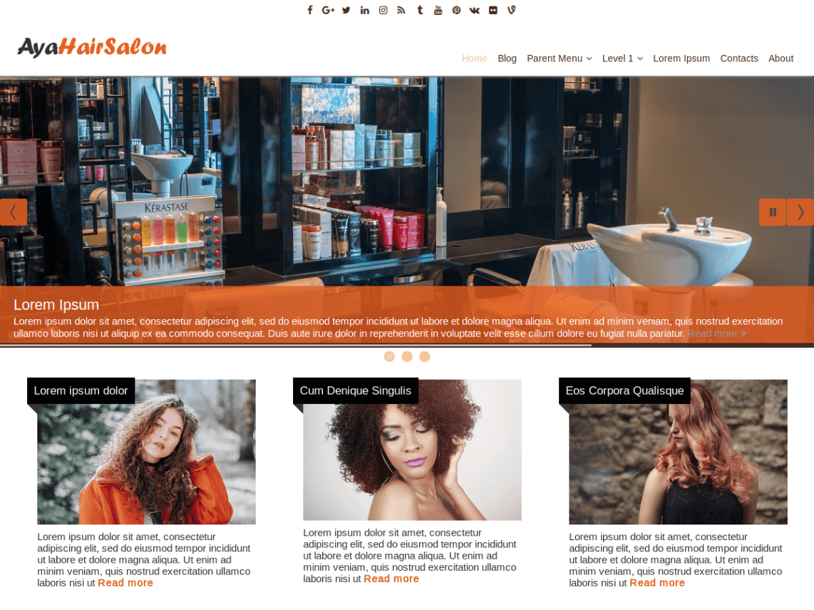 AyaHairSalon WordPress Theme