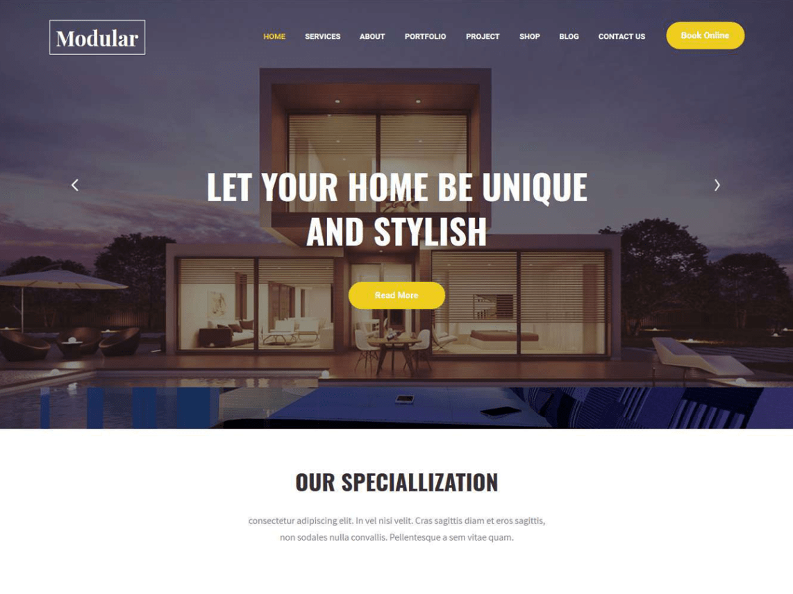 Modular Lite - Free Interior Decorator WordPress Theme 4