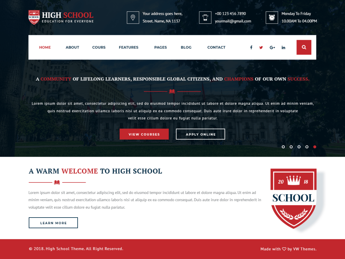 VW School Education – WordPress Theme for Schools