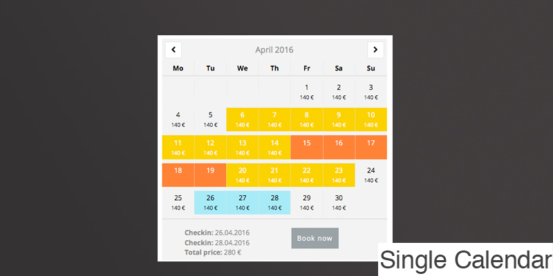 Advanced Booking Calendar