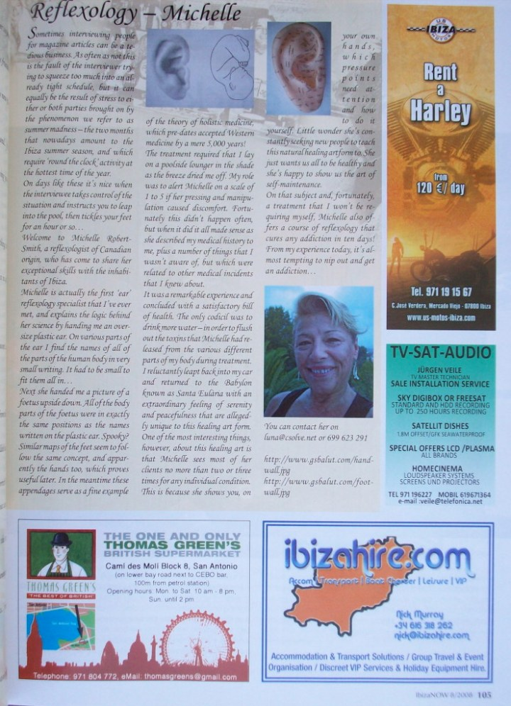 Reflexology Michelle -featured in Ibiza NOW