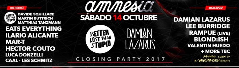 Amnesia Ibiza closing party 2017 lineup