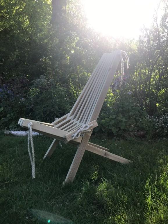 finished result lounge chair DIY kenucky stick chair bygga utemöbler