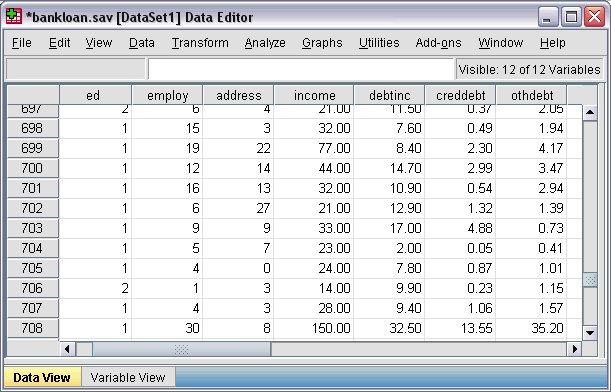 بيانات الحالتين 701 و 703 في طريقة عرض البيانات في محرر البيانات