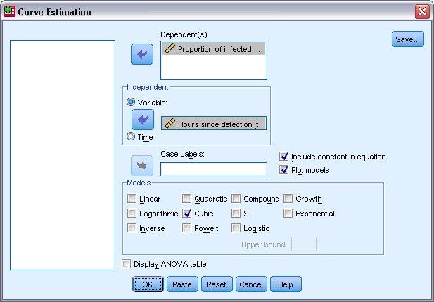 مربع الحوار الرئيسي لتقدير المنحنى مع تحديد نسبة الرسائل المصابة كمتغير تابع والساعات منذ الكشف المحدد كمتغير مستقل