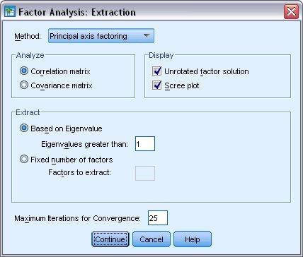 تحليل العوامل، مربع حوار الاستخراج مع تحديد عوامل المحور الرئيسي للطريقة