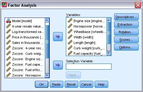 مربع حوار التحليل العاملي