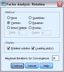 مربع حوار التدوير Rotation مع Varimax محدد في مجموعة التدوير