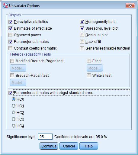 مربع حوار الخيارات - تحليل التباين المشترك باستخدام GLM Univariate