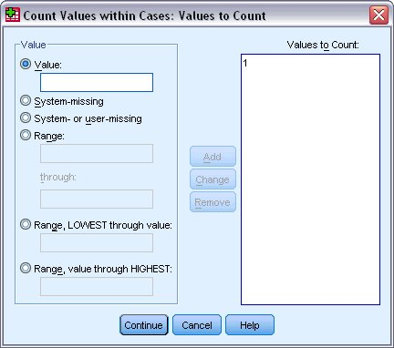 Values to Count dialog box for defining values to count wtihin cases
