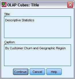مربع حوار لتحديد عنوان وتسمية توضيحية لتحليل مكعبات OLAP
