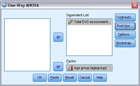 مربع حوار تحليل التباين أحادي الاتجاه مع تحديد تقييم DVD الإجمالي كمتغير تابع والفئة العمرية كمتغير عاملي