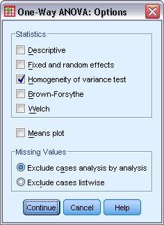 مربع حوار الخيارات لإجراء تحليل التباين أحادي الاتجاه One-Way ANOVA