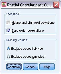 مربع حوار خيارات الارتباطات الجزئية