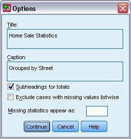 مربع حوار خيارات للتقرير الملخص - إجراء تلخيص البيانات