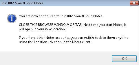 SmartCloud Notes configuration successful notice