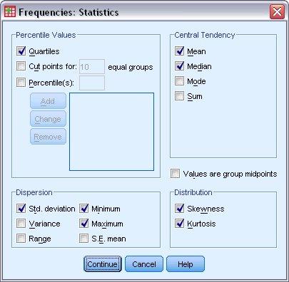مربع حوار إحصائيات - التكرارات