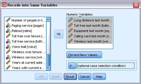 مربع الحوار إعادة الترميز إلى نفس المتغيرات مع تحديد خمسة متغيرات