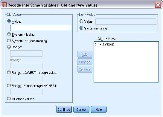 مربع حوار القيم القديمة والجديدة مع تحديد القيم القديمة 0 والقيم الجديدة كقيم مفقودة من النظام