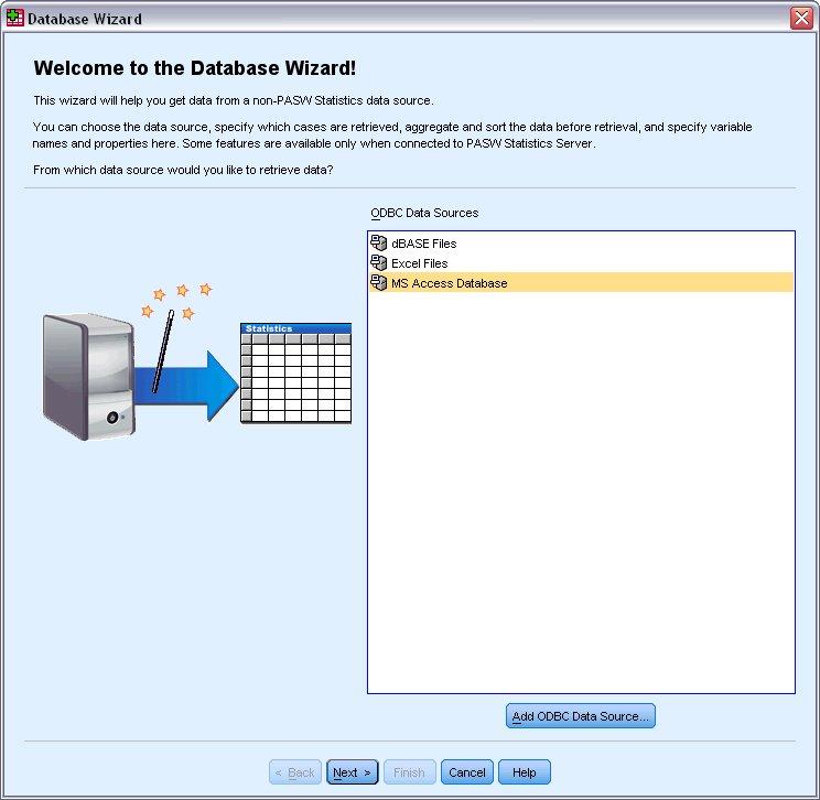 """مربع الحوار """"ترحيب معالج قاعدة البيانات"""" مع تحديد MS Access Database من قائمة مصادر البيانات المتاحة - استيراد وقراءة البيانات من قاعدة البيانات"""