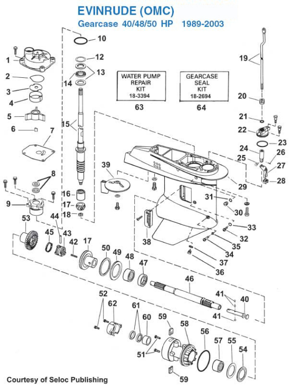 Evinrude 40, 48, 50 HP Gearcase (1989-2003) Exploded View