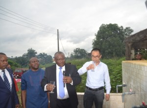 The Chief Operating Officer of Universal Energy Resources Limited, Engr. Steve Okoko (2r), flanked from right by representative of his deputy, Dr Wang Jinpeng; Chairman of Ikot Abasi Local Government Council Transition Committee, Mr. Ubong Uquang, and Barrister Ekong Umorok, during the  commissioning of a Mini-Water Project at Uta-Ewa in Ikpa Ibekwe, Ikot Abasi Local Government Area recently.