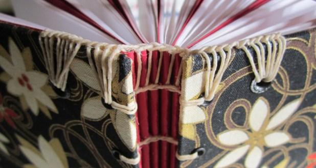 bookbinding coptic style headband on journal