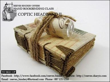 chunky woven coptic headband with glass bottle
