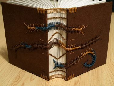 Coptic binding - Caterpillars Brown Covers Bookbinding