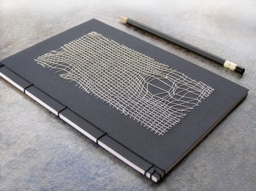 Stitched White 3D Mesh on Black Japanese Style Book