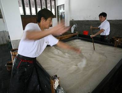 making Xuan paper - Stirring Vat