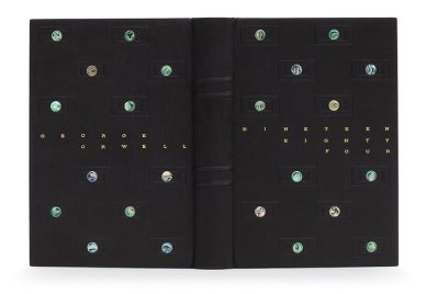 The Ash Rare Books Lettering Award — Daniel Wray. Nineteen Eighty-Four by George Orwell. Photo by Designer Bookbinders