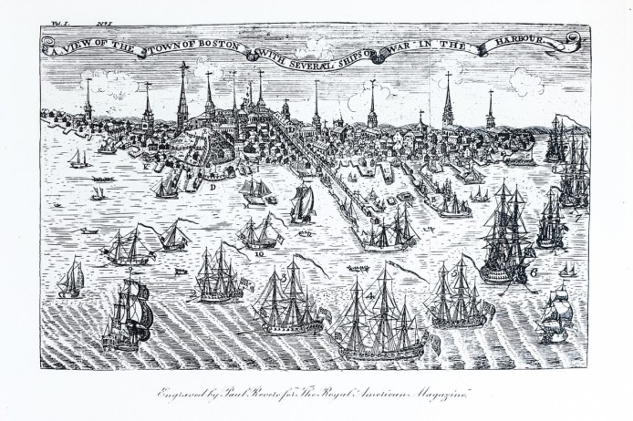Engraving A View of the Town of Boston with Several Ships of War in the Harbour was made by Paul Revere in 1774 for The Royal American Magazine