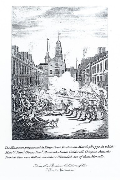 Engraving The Massacre perpetrated in King Street Boston on March 5th 1770
