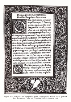 Page with initials from 'Pomponius Mela, Cosmographi de situ orbis', printed by Bernardus Pictor and Erhardus Ratdolt, Venice, 1478