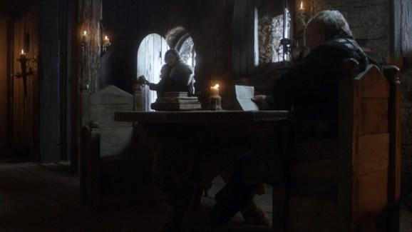 GoT S01E08 00.11.34 - Mormont reading news of Baratheons's death to Jon Snow