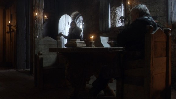 GoT S01E08 00.11.34 - Mormont reading news of Baratheons's death to Jon Snow