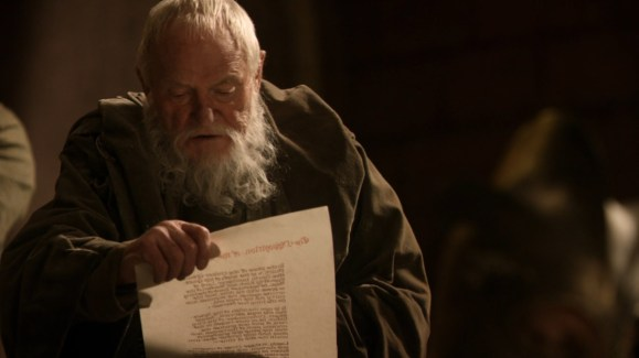 GoT S01E08 00.51.26 - Grand Maester Pycelle Reading a decree to depose Eddard Stark as the Hand of the King 16