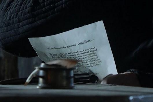 GoT S01E10 00.42.35 - Mormont reading a lettter - close-up