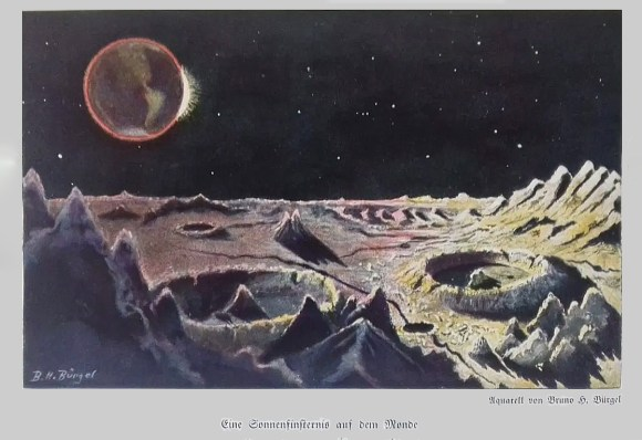 """Solar eclipse on the Moon"" from the book ""Aus fernen Welten""; Bruno H. Bürgel; 1920, Berlin, Germany"