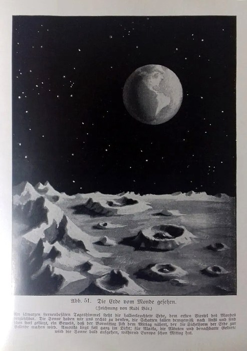 """""""The Earth as seen from the Moon"""" from the book """"Sternenkunde""""; Dr. R. Buschik; 1927, Leipzig, Germany"""
